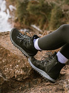 Two legs in waterproof green shoes.