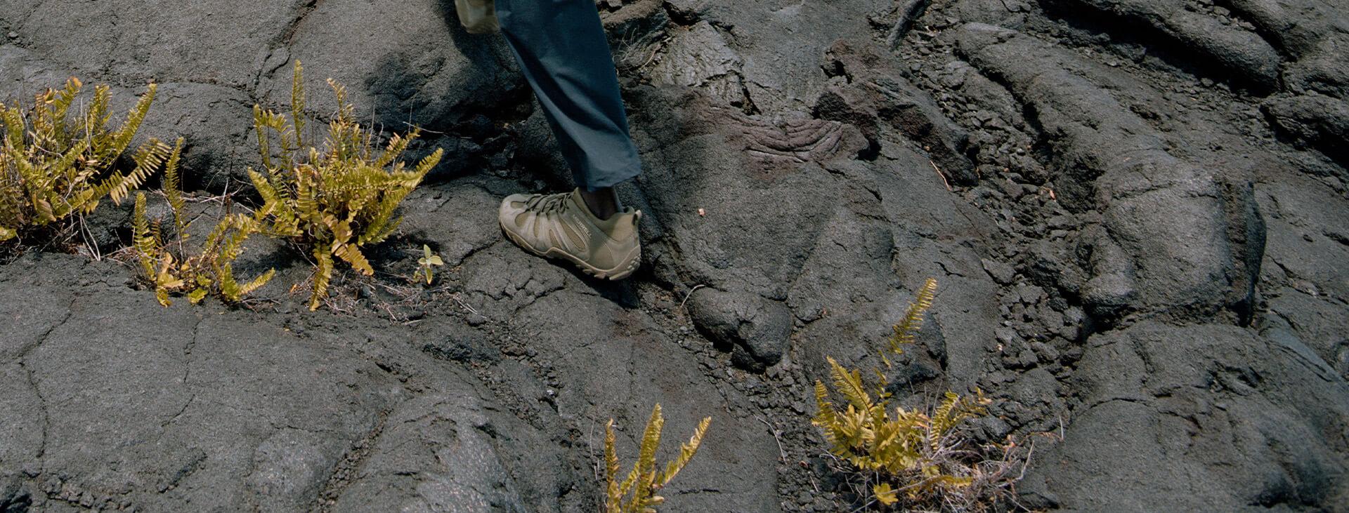 Walking over rocks.