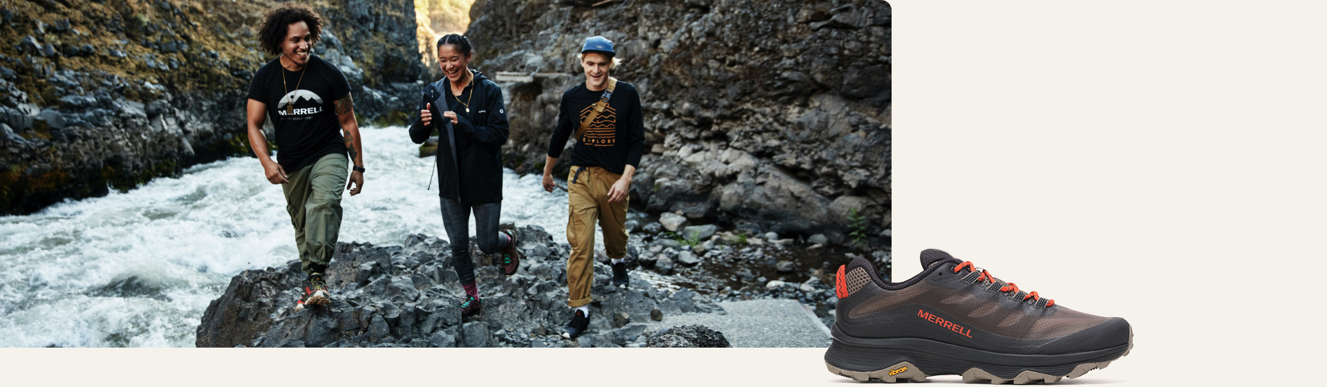 Three people hiking in Merrell shoes.