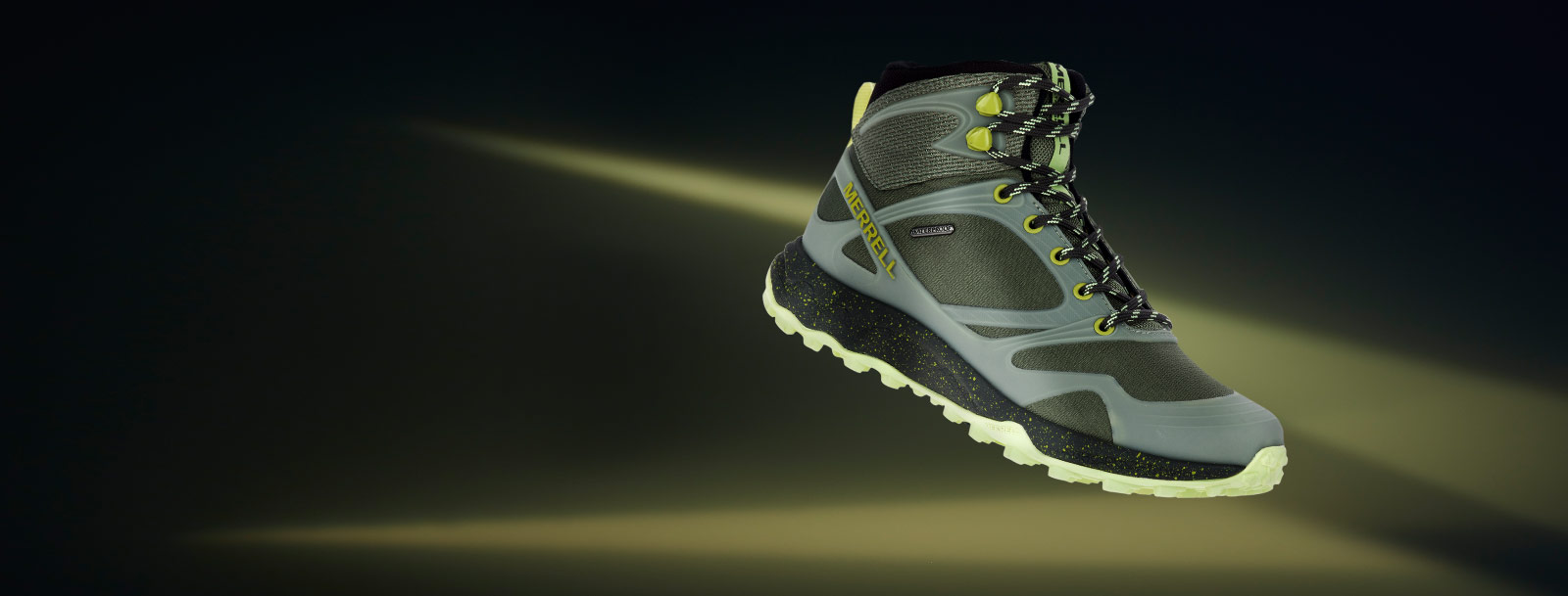 Merrell Altalight shoe over a blurred purple background