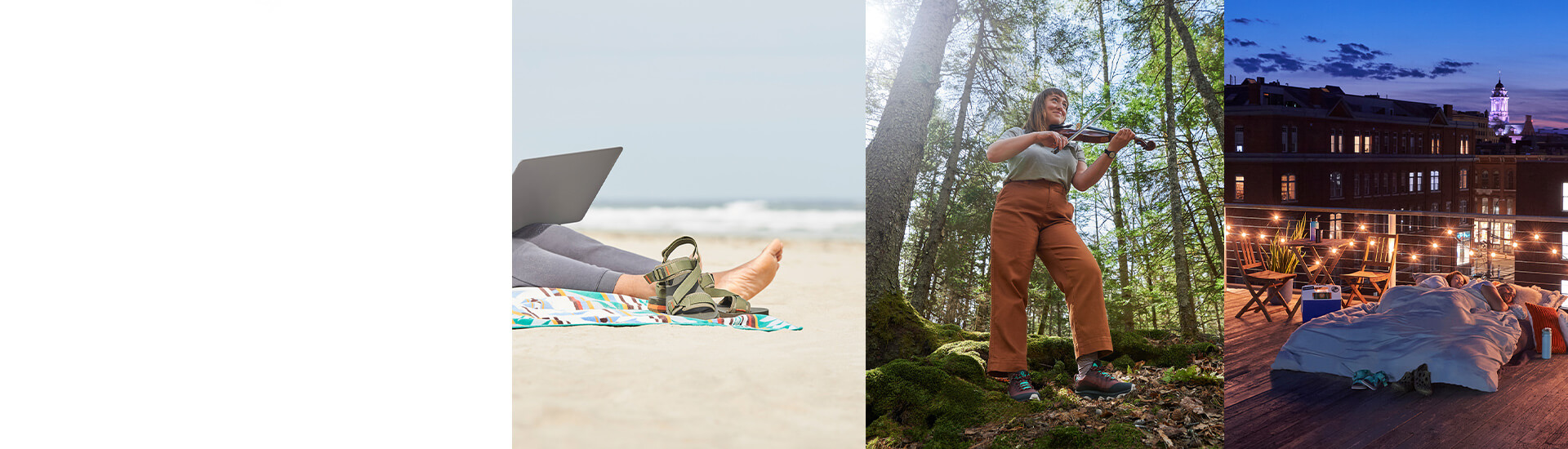 Collage: people work, sleep and play outdoors.