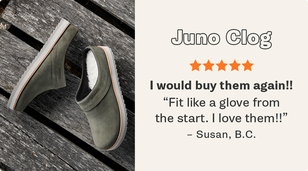 A pair of Merrell Juno Clog shoes with a review.