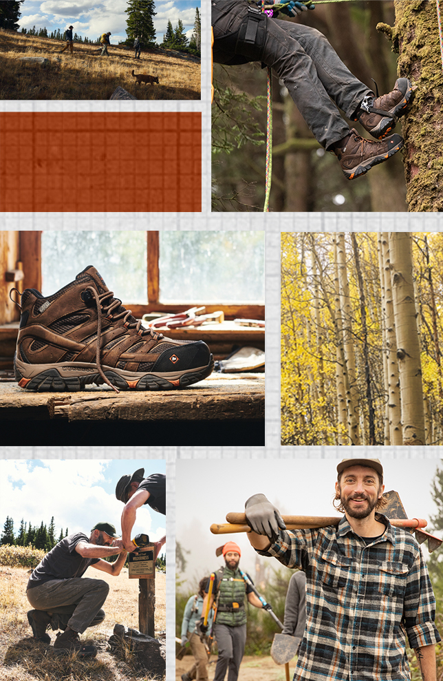 Collage of people wearing Merrell Moab Vertex Boots