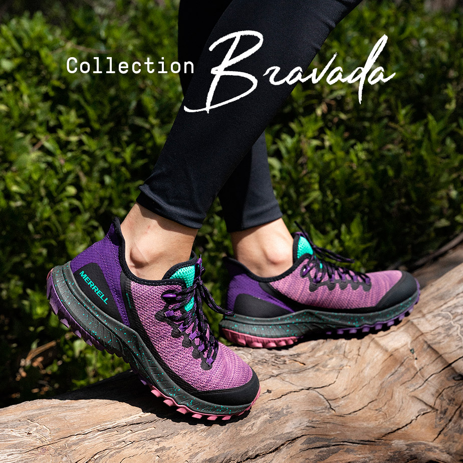 Bravada Shoe floating against a grey background and people hiking.