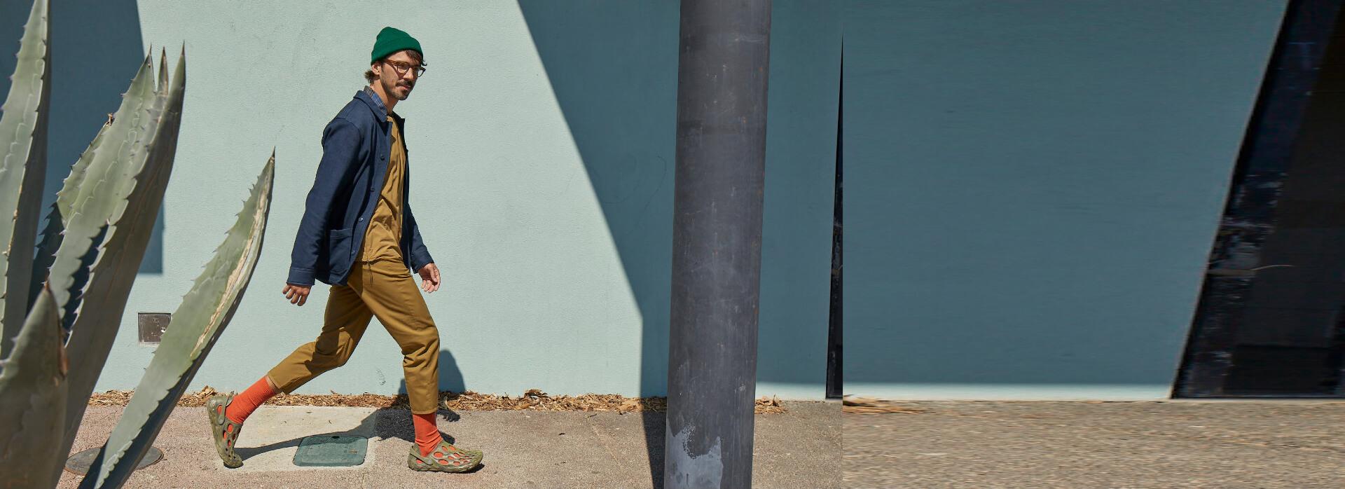 Guy walking in the street in Merrell Hydro Moc.