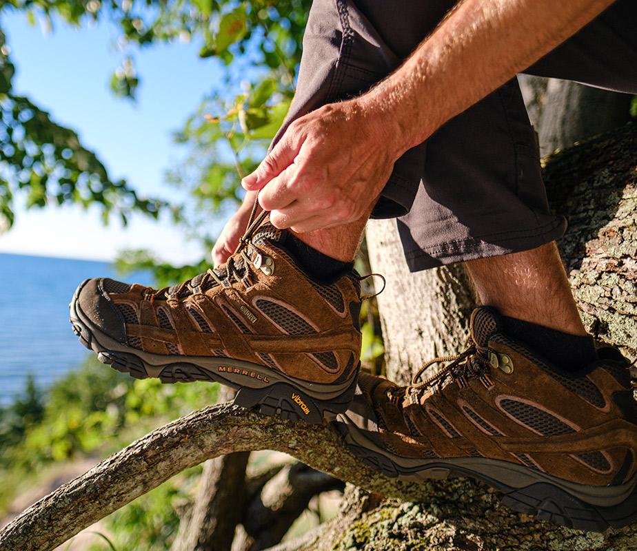 Man wearing Moab Merrell shoes