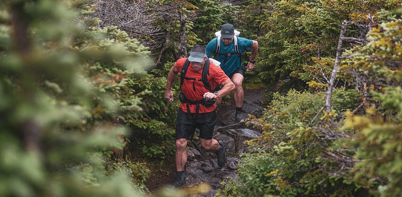 Two men are hiking in the wood.