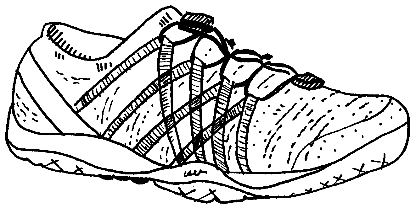 Black line drawing of a low-top gym shoe.