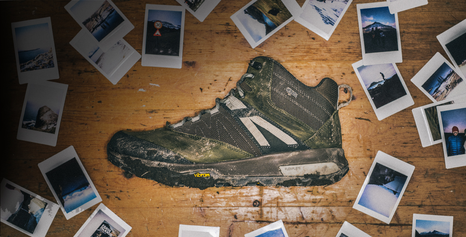 Merrell Zion Boot surrounded by polaroids