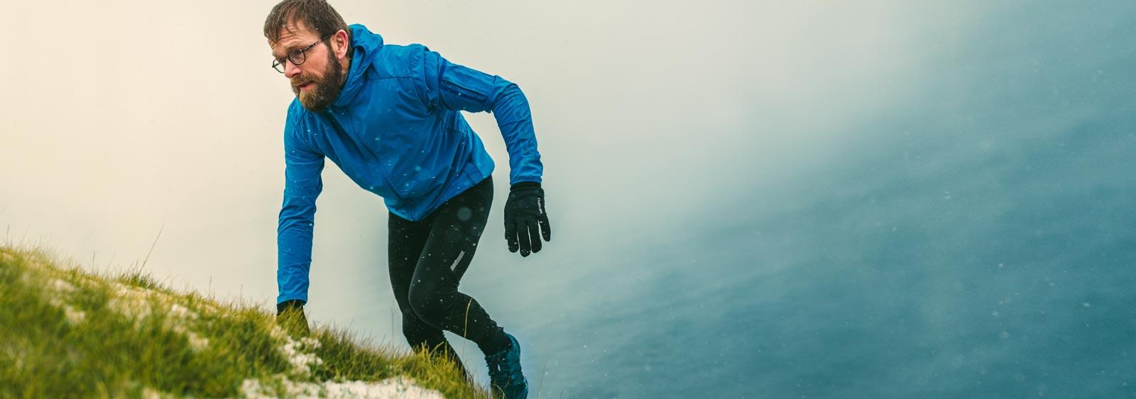 pastor running up a hill