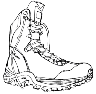 Black line drawing of a hiking boot.