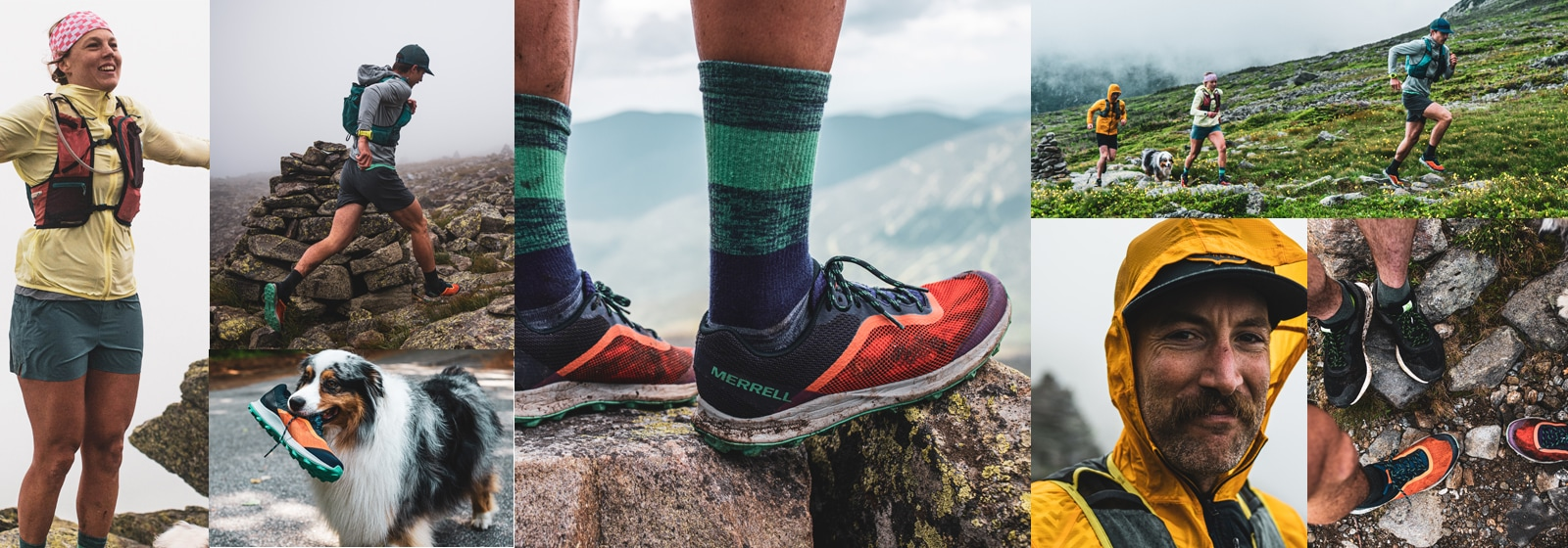 A collage of photos of the Merrell MTL Skyfire
