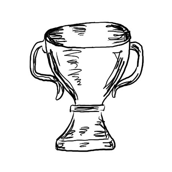Line drawing of a trophy.