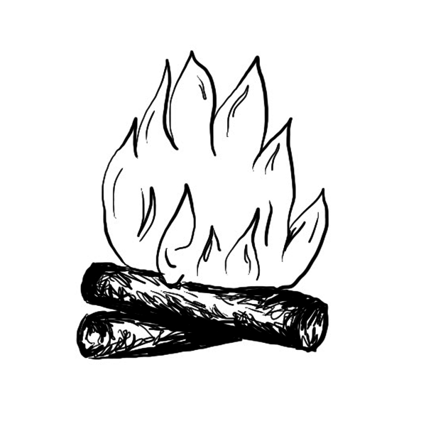 Line drawing of a campfire.