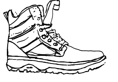 Black line drawing of a mid-ankle trail shoe.