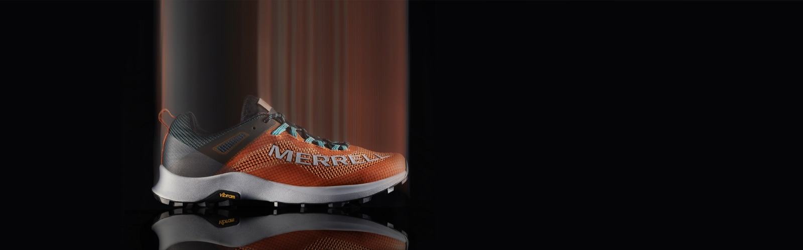Merrell Long Sky Shoe blurred over a black background