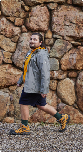 Man walking with Merrell boots