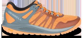 An orange trail running shoe.