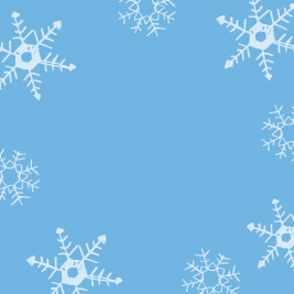 Opaque white snowflake shadows on a light blue background.