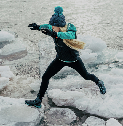 Woman jumping on ice.