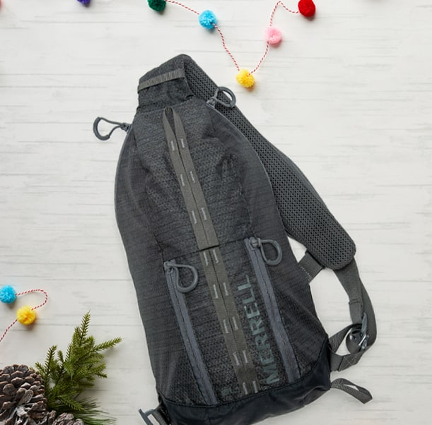 Merrell Sling and holiday decorations.