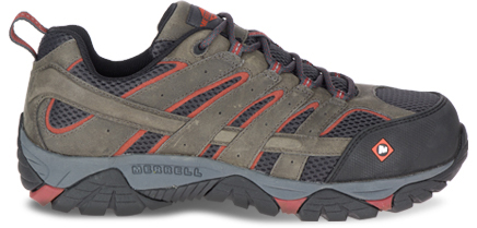 A Moab Vertex Vent Comp Toe Work Shoe featuring COMFORTBASE.