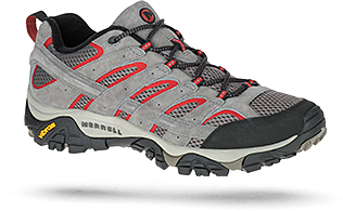 Moab 2 shoe in grey and red by Merrell.