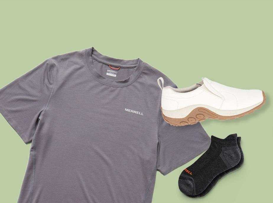 Merrell t-shirt, Jungle Moc, and socks.