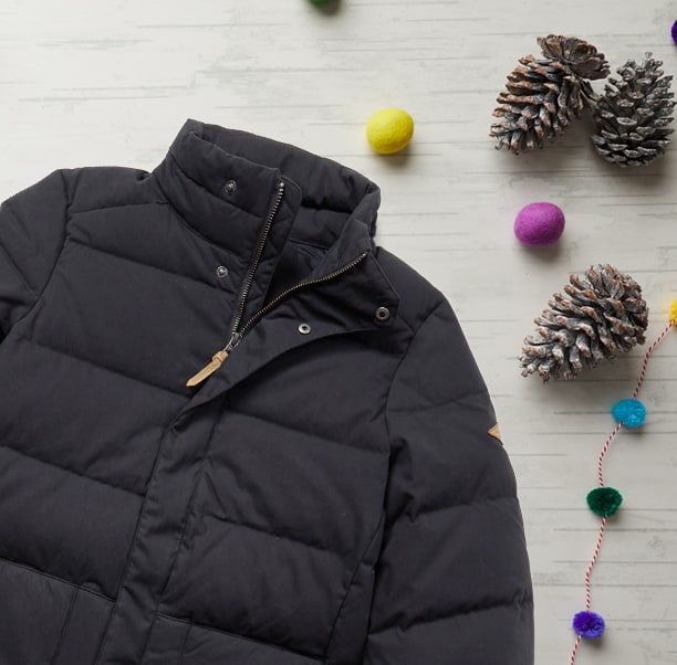 Winter apparel and holiday decor.