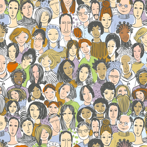 A drawing of multi-racial faces in a crowd.