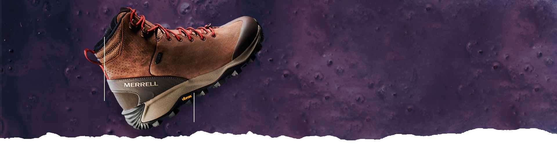 Merrell Thermo Glacier boot over a purple moon-like surface.