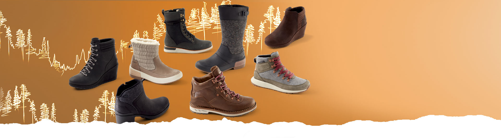 A large group of boots on a fall-themed background. They look super toasty warm!
