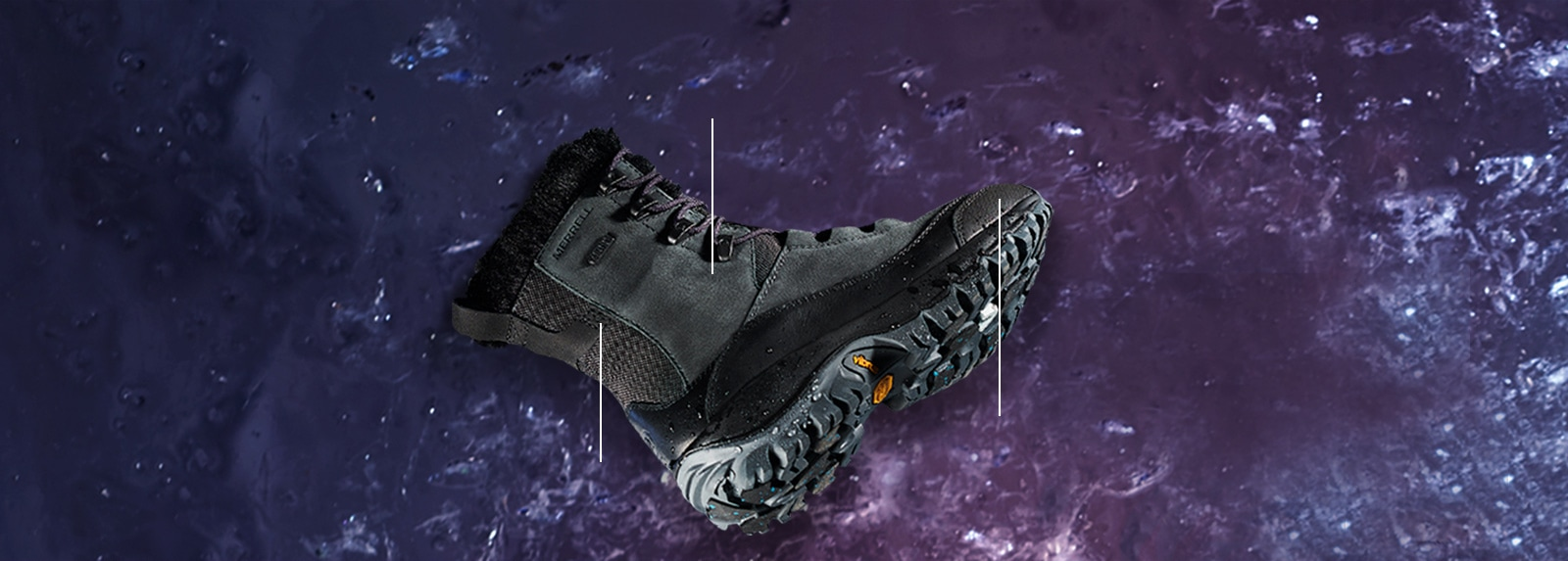 Merrell Thermo Rhea boot over a purple moon-like background