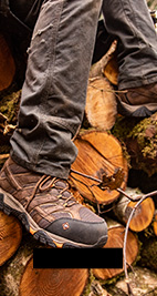 Work Boots Near a pile of Wood