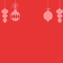 Opaque white ornament shadows on a red background.