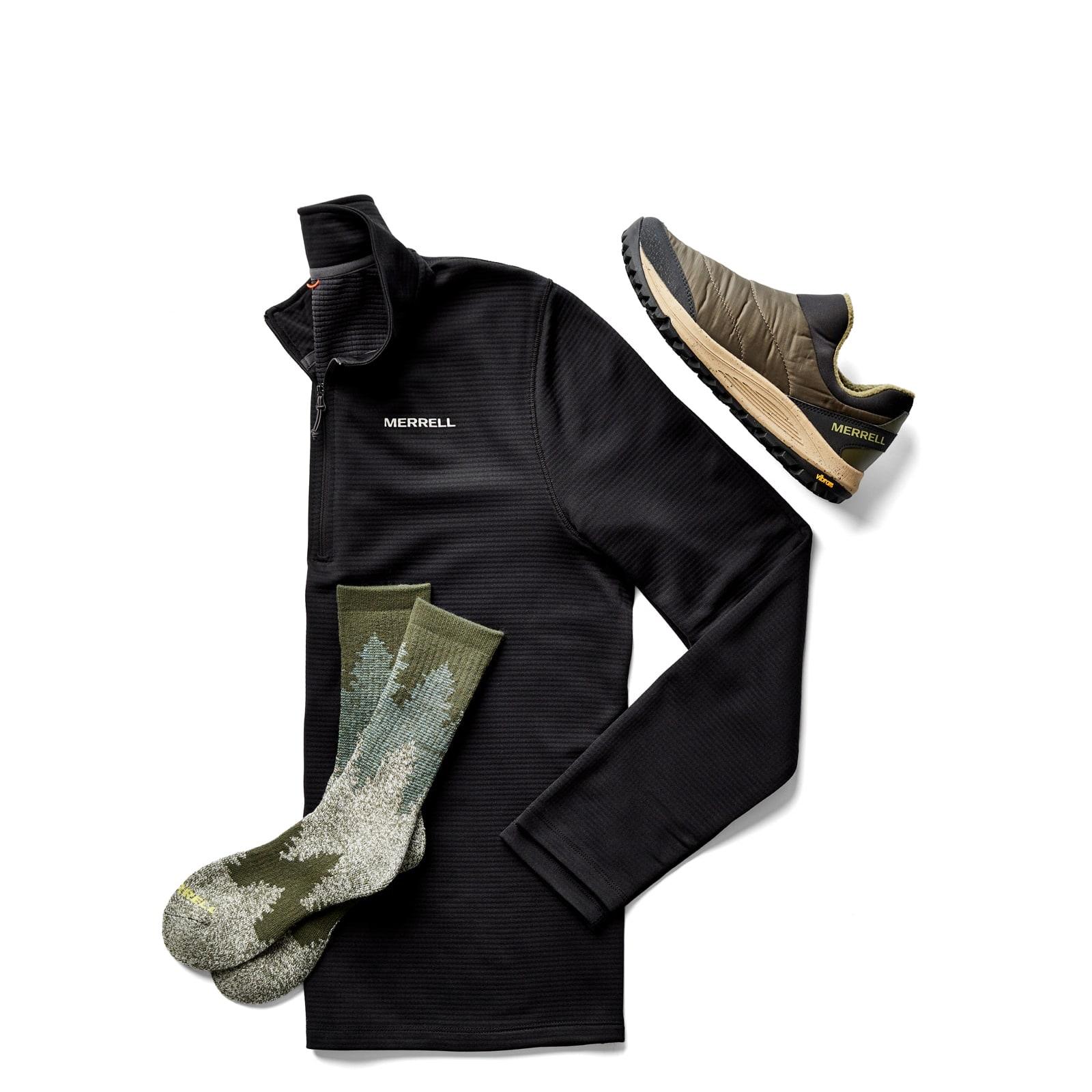 Merrell sneaker moc, pullover, and socks.
