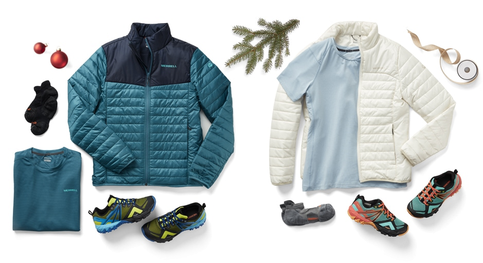 Men's and Women's Hike Kits; inlcuding a Merrell jacket, shirt, socks, and shoes.