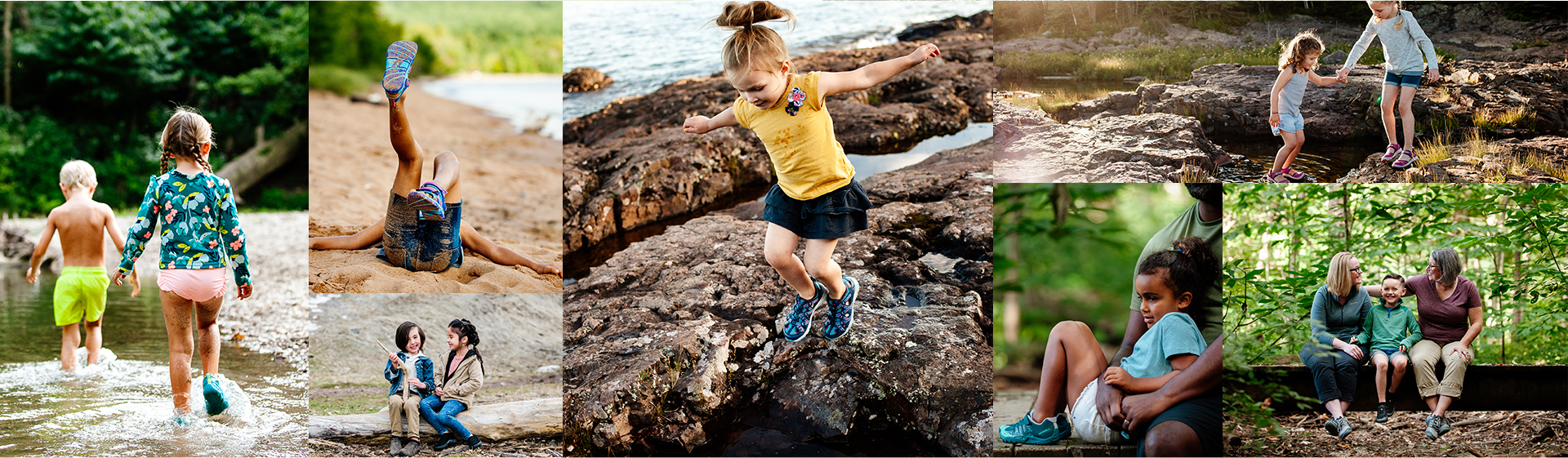 Collage of kids wearing merrell shoes while hiking in the woods.
