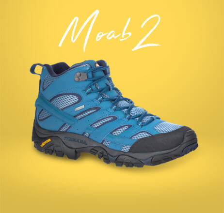 Blue Moab 2 with a dark grey Vibram sole.