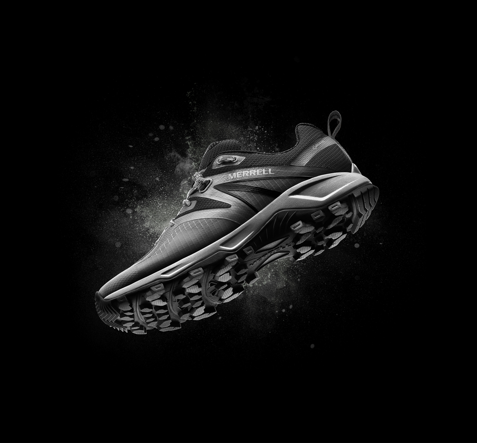Merrell MQM Shoe floating against a black background