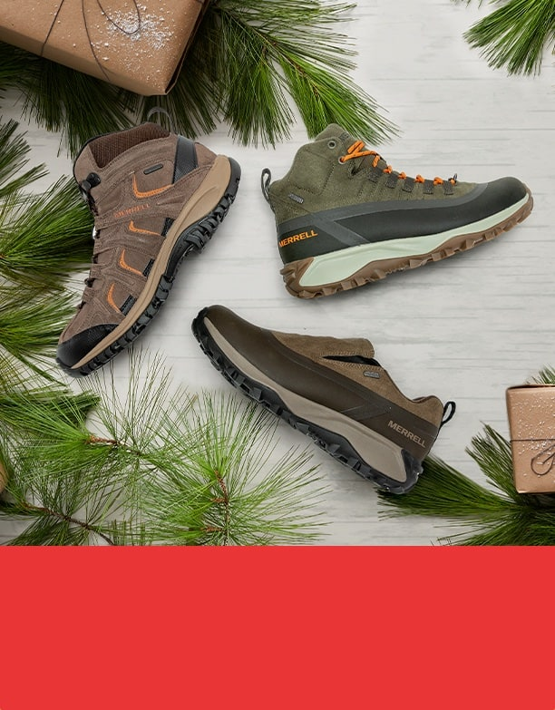 Mens Winter boots and holiday decorations.