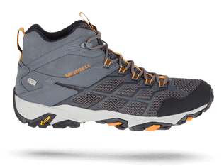 Moab FST 2 shoe in grey and orange by Merrell.