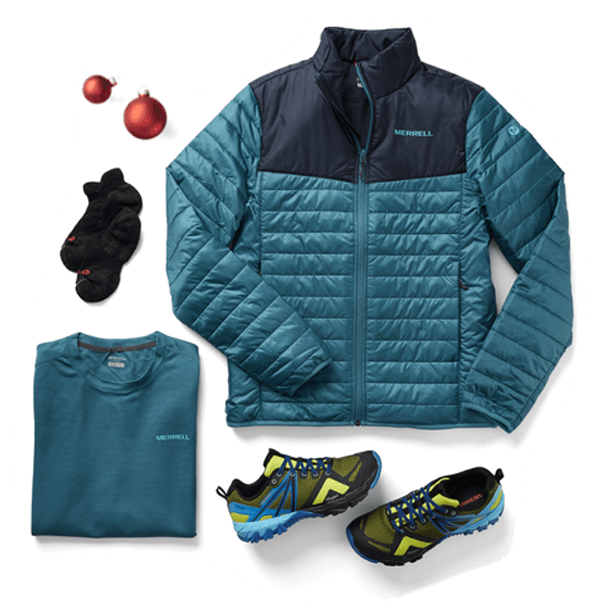 Hike Kit inlcuding a Merrell jacket, shirt, socks, and shoes.