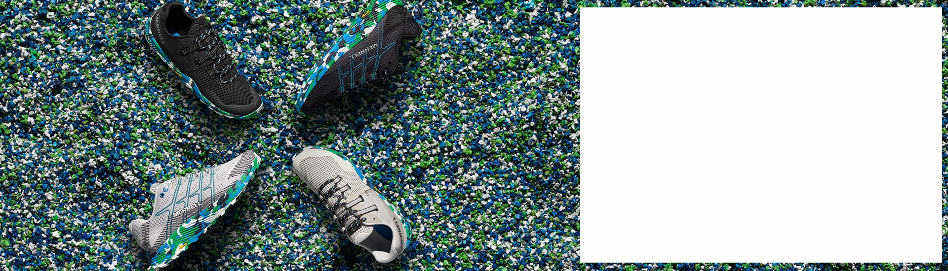 4 Merrell shoes on a colorful pattern.