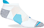 A short white anklet sock with a blue details, including a tab raised around the back of the ankle.