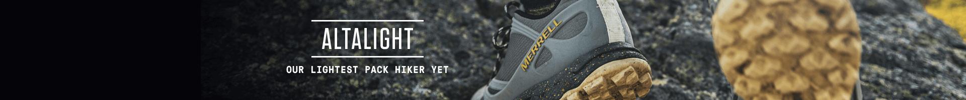 Merrell grey Altalight pack hiker shoes.