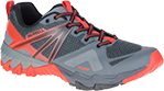 A grey and orange hiking sneaker.