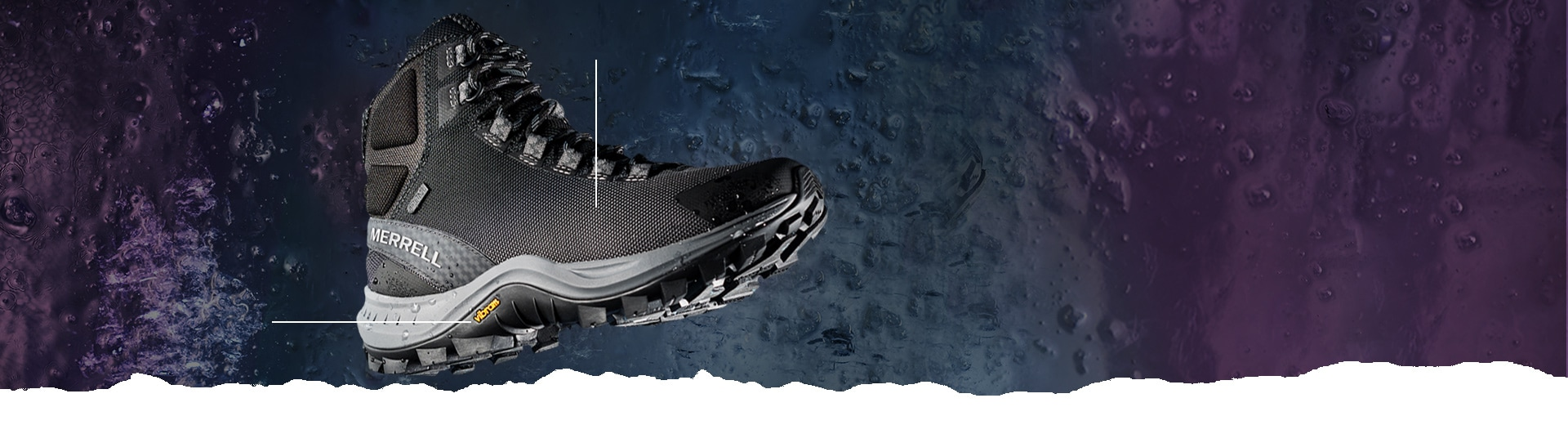 Merrell Thermo Cross boot over a blue and purple moon-like surface.