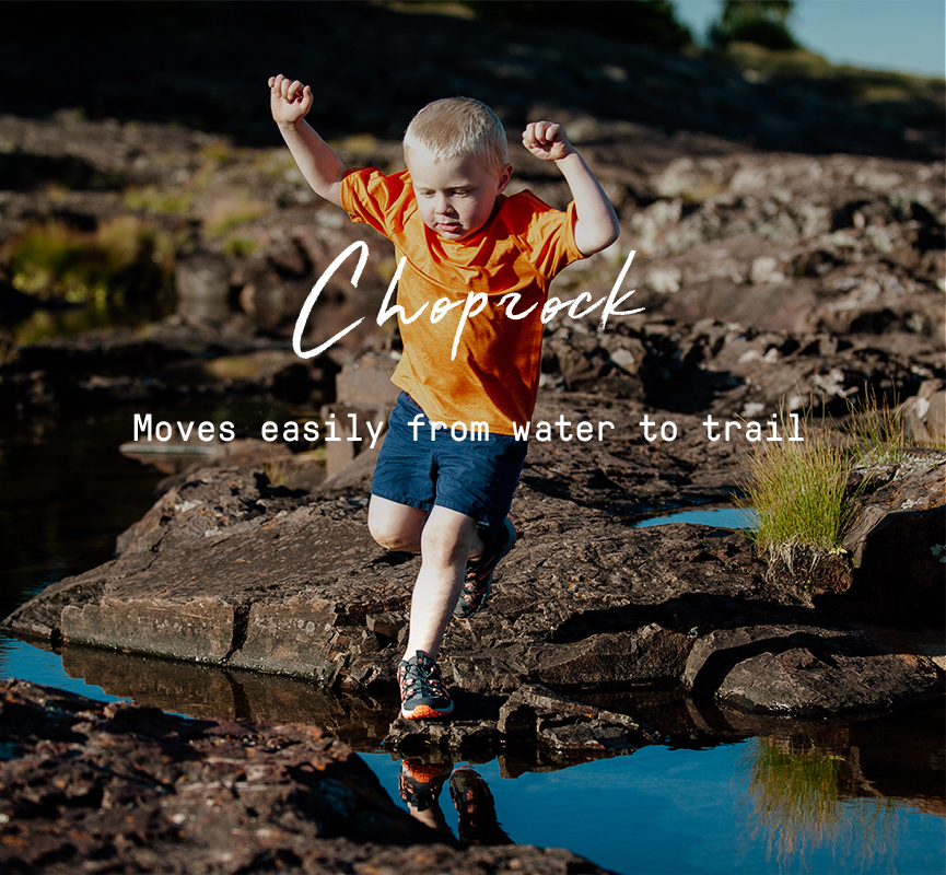 Choprock Moves easily from water to trail