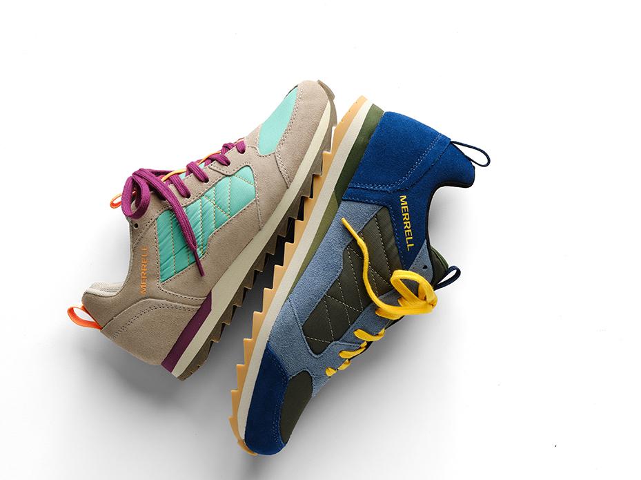 Alpine sneakers on their side touching heel to heel.